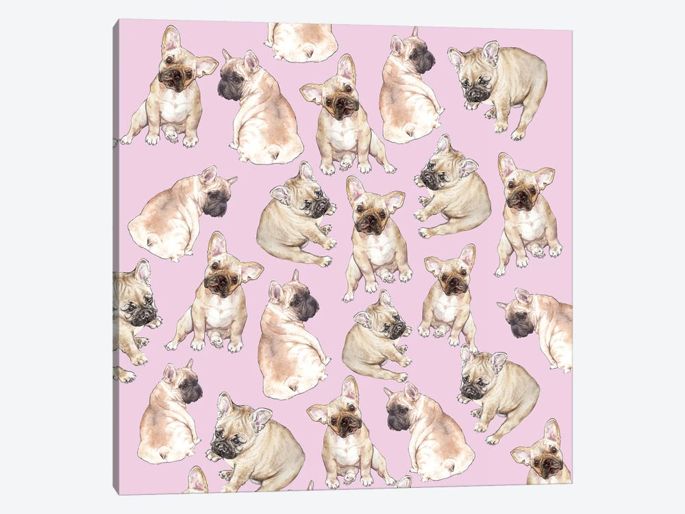 Blonde Frenchies On Pink by Wandering Laur 1-piece Canvas Artwork