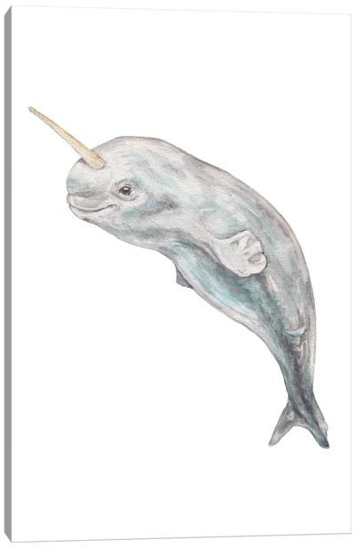 Baby Watercolor Narwhal Canvas Art Print