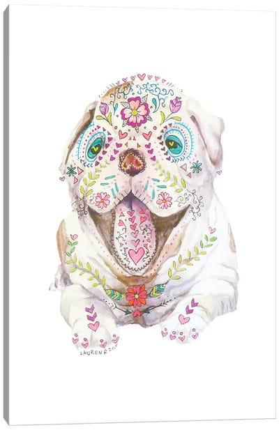 Sugar Skull Calavera Bulldog Puppy Watercolor Canvas Art Print