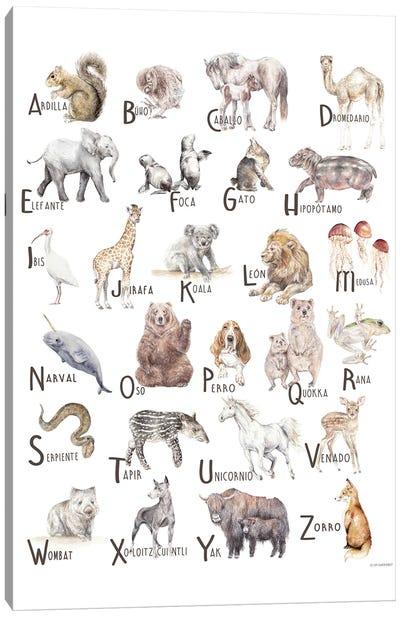 Animals A To Z Spanish Canvas Art Print