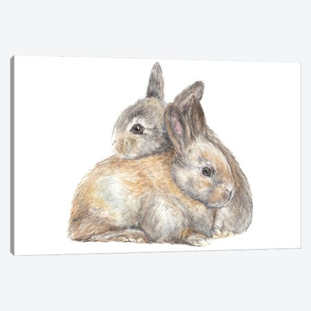 Snuggle Bunnies Canvas Print #RGF157} by Wandering Laur Canvas Wall Art