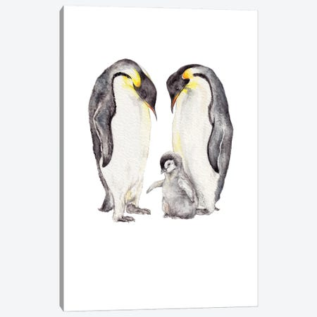 Watercolor Penguin Family Canvas Print #RGF163} by Wandering Laur Canvas Art