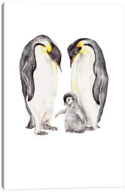 Watercolor Penguin Family Canvas Art Print