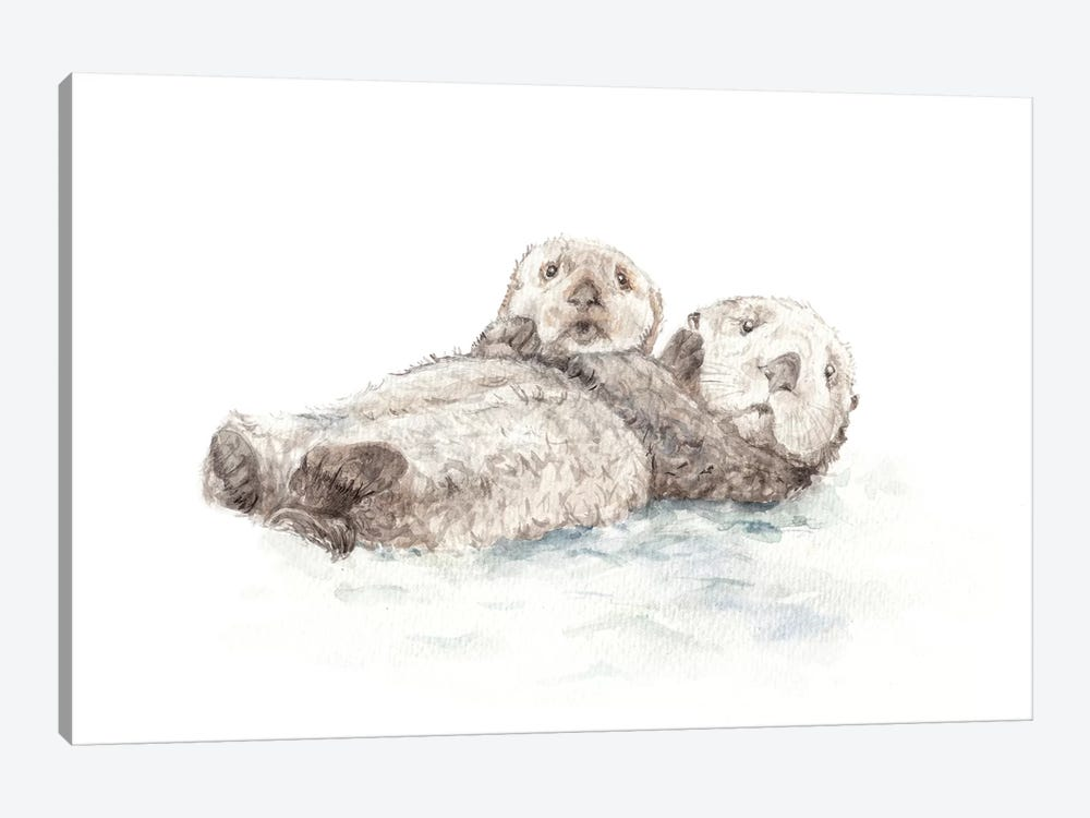 Adorable Otters by Wandering Laur 1-piece Canvas Art Print