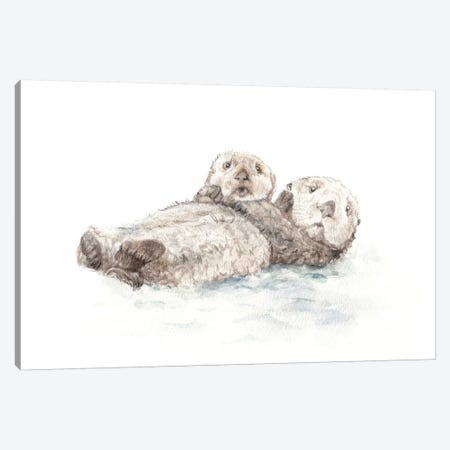 Adorable Otters Canvas Print #RGF1} by Wandering Laur Canvas Wall Art