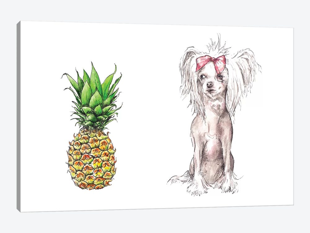 Chinese Crested And Pineapple With The Same Haircut by Wandering Laur 1-piece Canvas Art