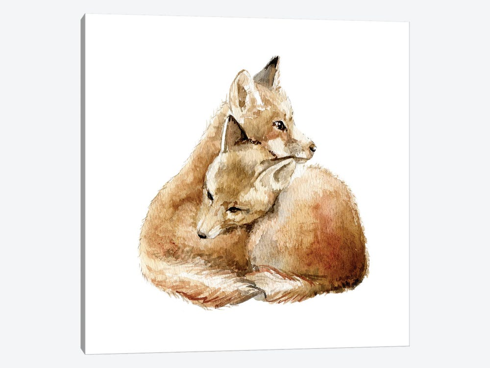 Cuddling Foxes by Wandering Laur 1-piece Art Print