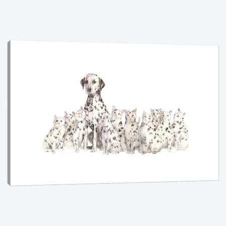 Dalmatian And Copycats Canvas Print #RGF29} by Wandering Laur Canvas Wall Art