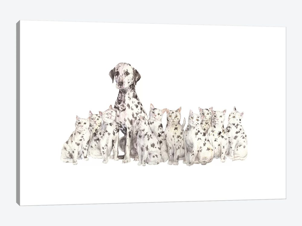 Dalmatian And Copycats by Wandering Laur 1-piece Canvas Wall Art