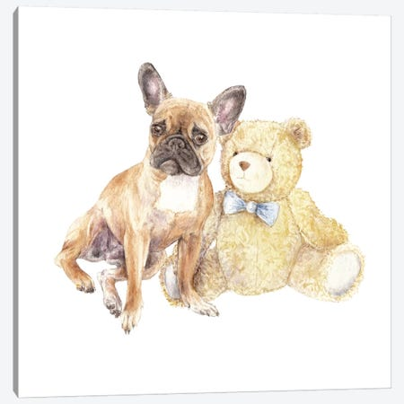 Frenchie And Teddy Bear Canvas Print #RGF33} by Wandering Laur Art Print