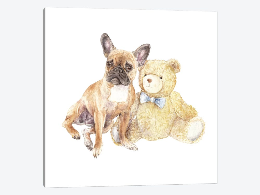 Frenchie And Teddy Bear 1-piece Canvas Print