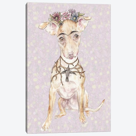 Frida's Crowned Canine Imposter Canvas Print #RGF34} by Wandering Laur Canvas Artwork