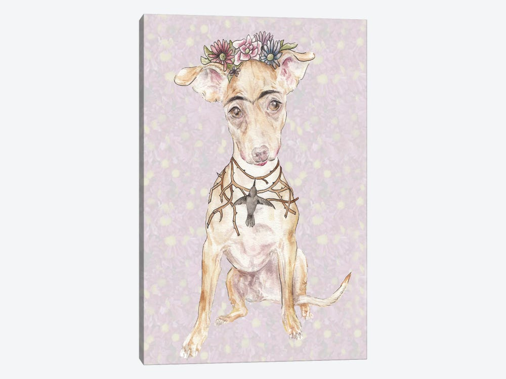 Frida's Crowned Canine Imposter by Wandering Laur 1-piece Canvas Artwork