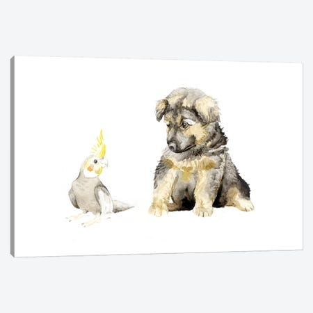 German Shepherd Puppy And Cockatiel Canvas Print #RGF36} by Wandering Laur Canvas Art