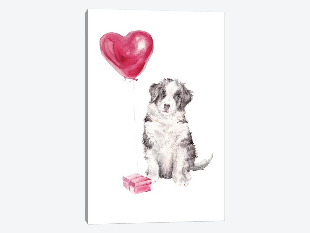 Happy Dog With Gift And Balloon by Wandering Laur 1-piece Canvas Art Print
