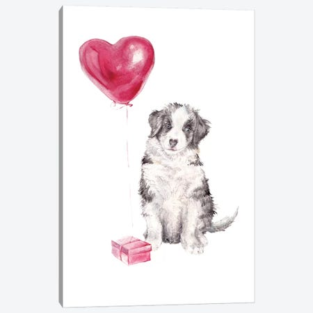 Happy Dog With Gift And Balloon Canvas Print #RGF40} by Wandering Laur Canvas Wall Art