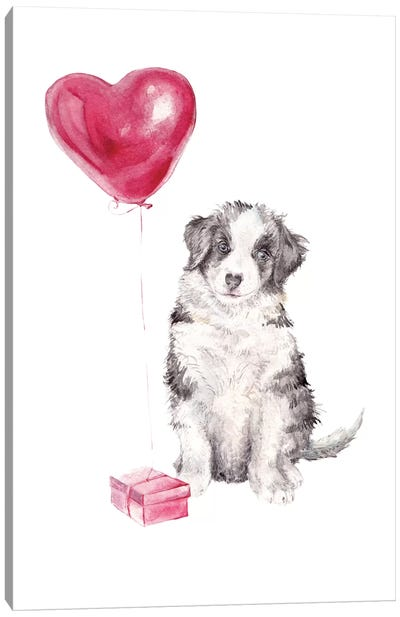 Happy Dog With Gift And Balloon Canvas Art Print