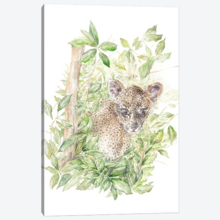 Leopard Cub In The Jungle 3-Piece Canvas #RGF52} by Wandering Laur Art Print