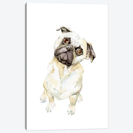 Fawning Pug Canvas Print #RGF68} by Wandering Laur Canvas Wall Art
