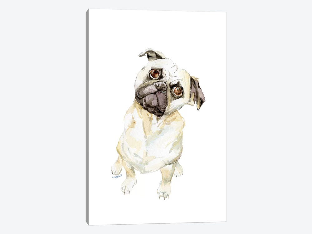 Fawning Pug by Wandering Laur 1-piece Canvas Art Print