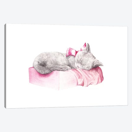 Sleepy Kitten Canvas Print #RGF81} by Wandering Laur Canvas Artwork