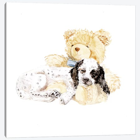 Sleepy Puppy And Teddy Bear Canvas Print #RGF82} by Wandering Laur Canvas Artwork
