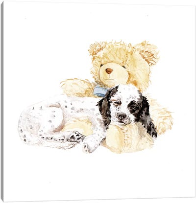 Sleepy Puppy And Teddy Bear Canvas Art Print