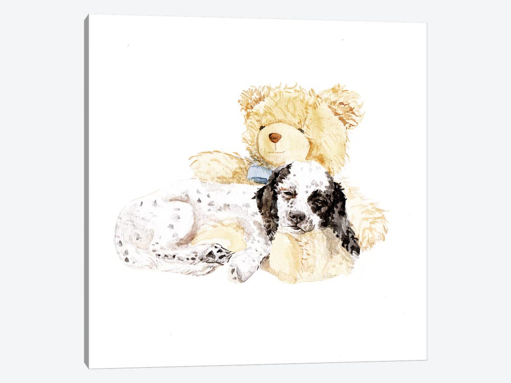 Sleepy Puppy And Teddy Bear by Wandering Laur 1-piece Canvas Print