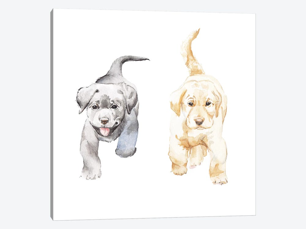 Yellow And Black Lab Puppies Canvas Artwork by Wandering