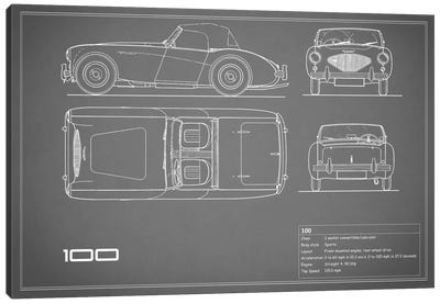 Austin-Healey 100 (Grey) Canvas Art Print