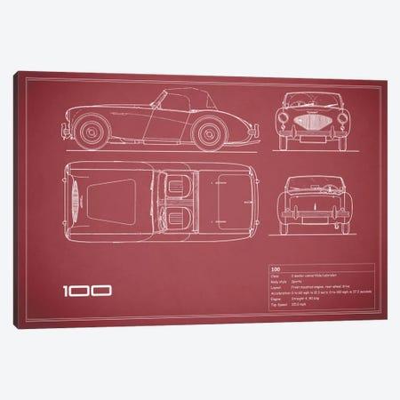 Austin-Healey 100 (Maroon) Canvas Print #RGN101} by Mark Rogan Canvas Art Print