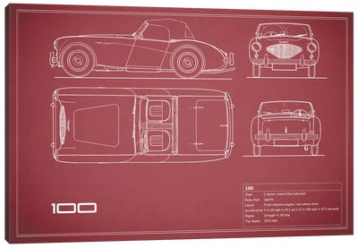 Austin-Healey 100 (Maroon) Canvas Art Print
