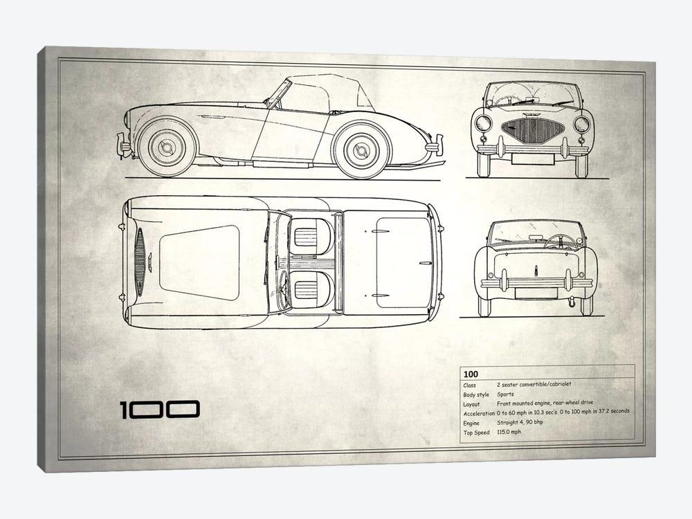 Austin-Healey 100 (Vintage Silver) by Mark Rogan 1-piece Canvas Wall Art
