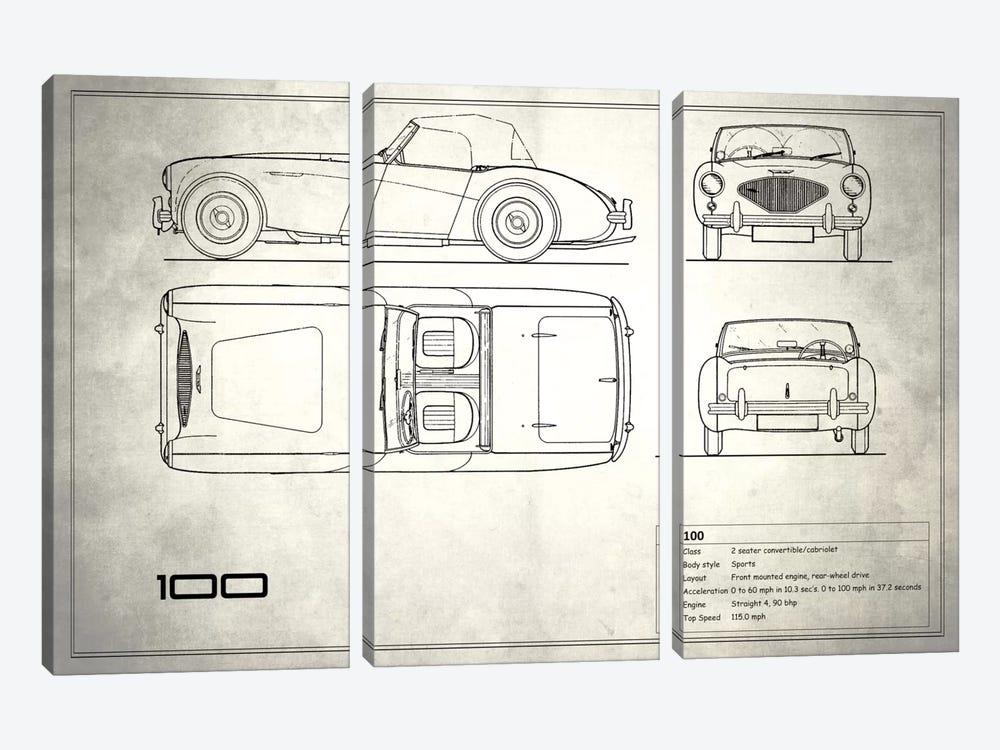 Austin-Healey 100 (Vintage Silver) by Mark Rogan 3-piece Canvas Wall Art