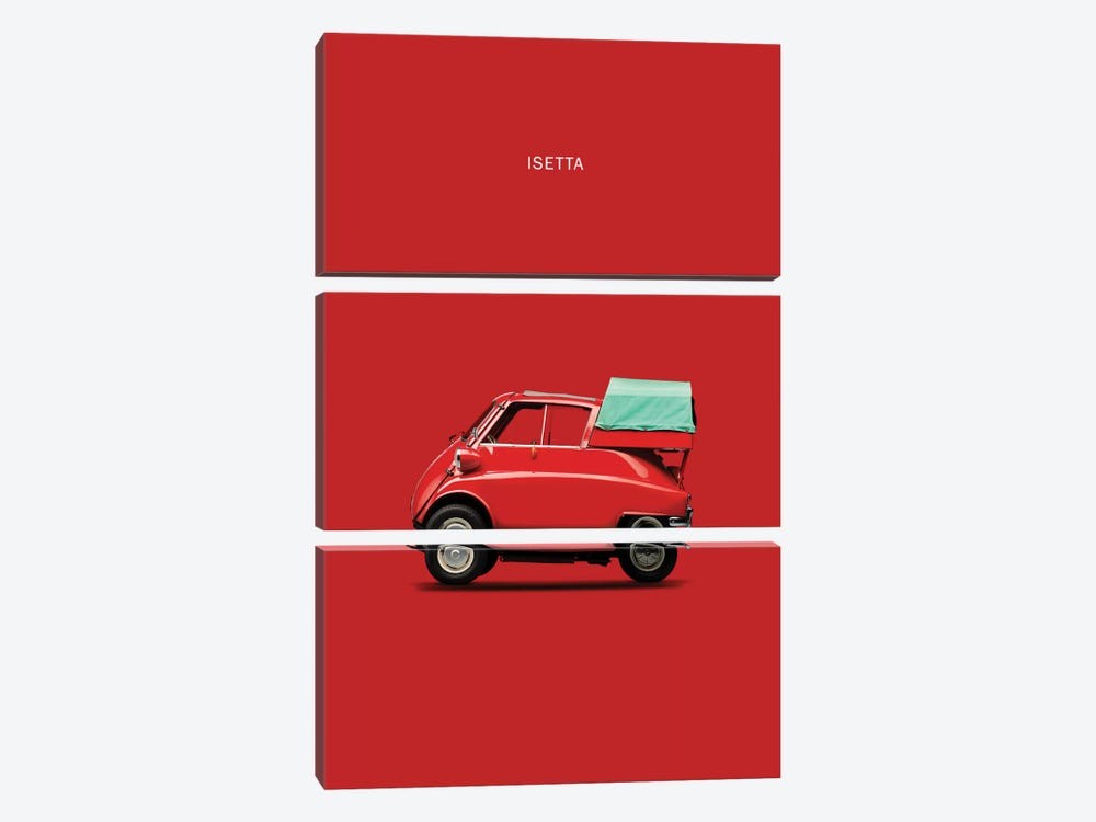 BMW Isetta 300 (Red) by Mark Rogan 3-piece Canvas Wall Art