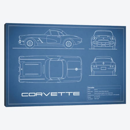 Chevrolet Corvette C1 Body Type (Blue) Canvas Print #RGN112} by Mark Rogan Canvas Artwork