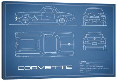 Chevrolet Corvette C1 Body Type (Blue) Canvas Art Print