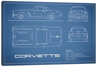 Chevrolet Corvette C1 Body Type (Blue) Canvas Art Print