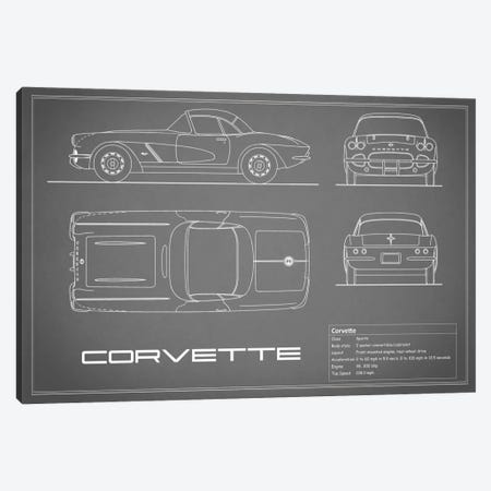 Chevrolet Corvette C1 Body Type (Grey) Canvas Print #RGN113} by Mark Rogan Canvas Wall Art