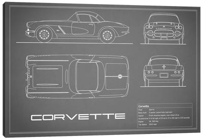 Chevrolet Corvette C1 Body Type (Grey) Canvas Art Print