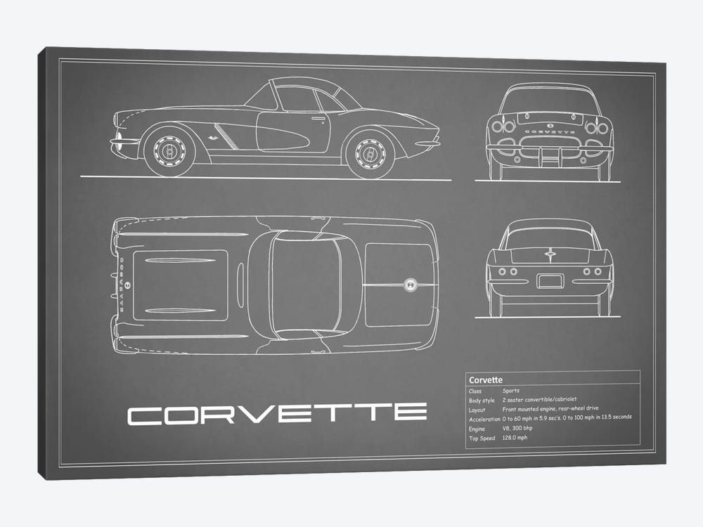 Chevrolet Corvette C1 Body Type (Grey) by Mark Rogan 1-piece Canvas Wall Art