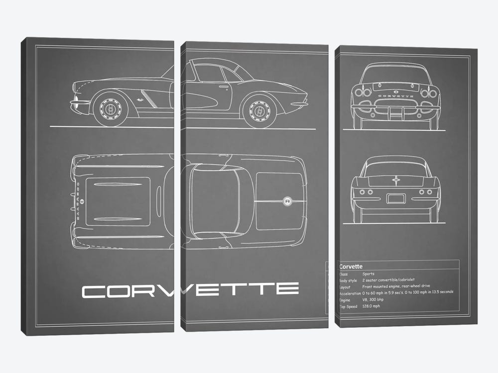 Chevrolet Corvette C1 Body Type (Grey) by Mark Rogan 3-piece Canvas Wall Art