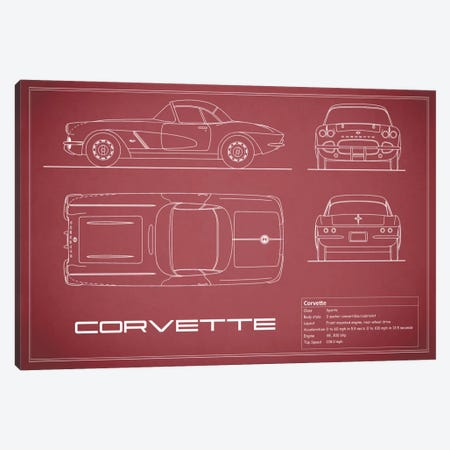 Chevrolet Corvette C1 Body Type (Maroon) Canvas Print #RGN114} by Mark Rogan Canvas Print