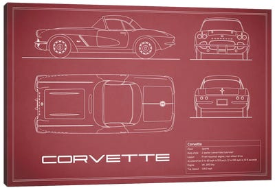 Chevrolet Corvette C1 Body Type (Maroon) Canvas Art Print