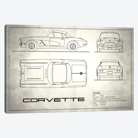 Chevrolet Corvette C1 Body Type (Vintage Silver) Canvas Print #RGN115} by Mark Rogan Canvas Print