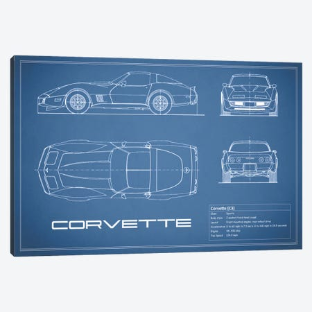 Chevrolet Corvette C3 Body Type (Blue) Canvas Print #RGN116} by Mark Rogan Canvas Print