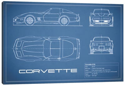 Chevrolet Corvette C3 Body Type (Blue) Canvas Art Print