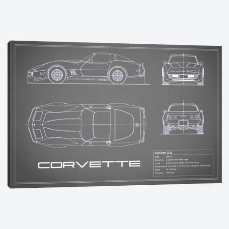 Chevrolet Corvette C3 Body Type (Grey) Canvas Print #RGN117} by Mark Rogan Canvas Art Print