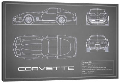 Chevrolet Corvette C3 Body Type (Grey) Canvas Art Print