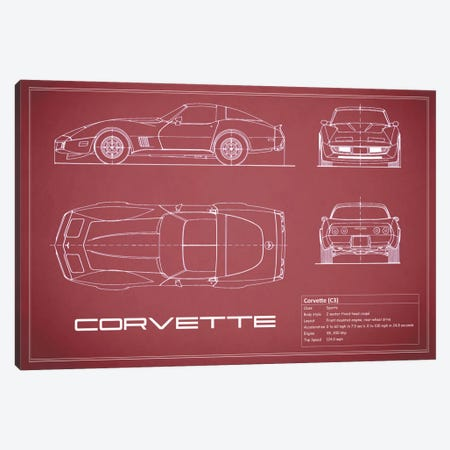 Chevrolet Corvette C3 Body Type (Maroon) Canvas Print #RGN118} by Mark Rogan Canvas Art
